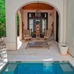 Plunge Pool with outdoor kitchen and shower